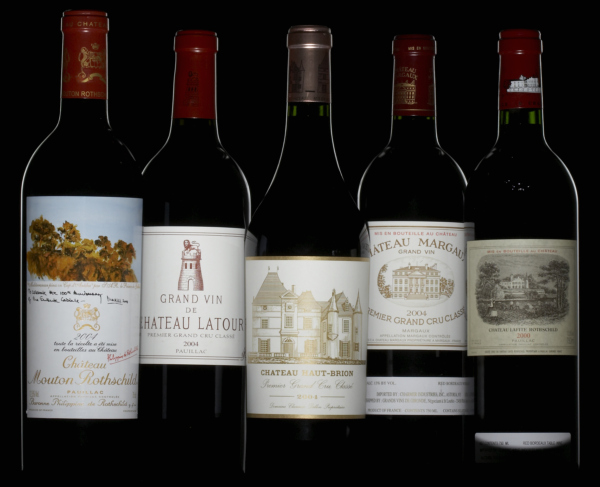 The five Bordeaux first growths