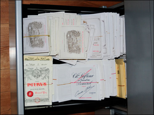 Fine wine labels, including Lafite and Pétrus, found at Kurniawan's house during the FBI search