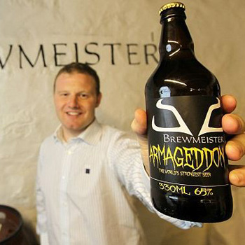 Brewmeister Brewery co-founder Lewis Shand with a bottle of Armageddon