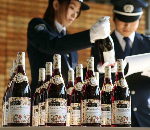 Bottles of Georges Duboeuf's latest release arrive in China for today's Beaujolais Nouveau Day celebrations