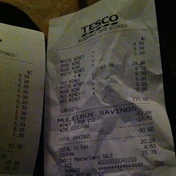 A receipt shows the glitch on Tesco's wine promotion (Image © Will Fealey)