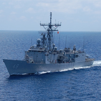 The US Navy frigate the USS Vandergrift