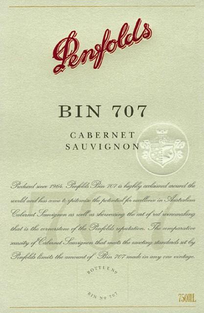 Penfolds Bin 707 - new copy