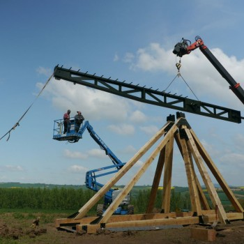 The trebuchet construction gets underway