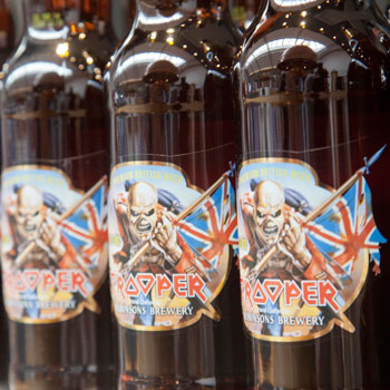 Trooper beer bottles on Morrisons shelves