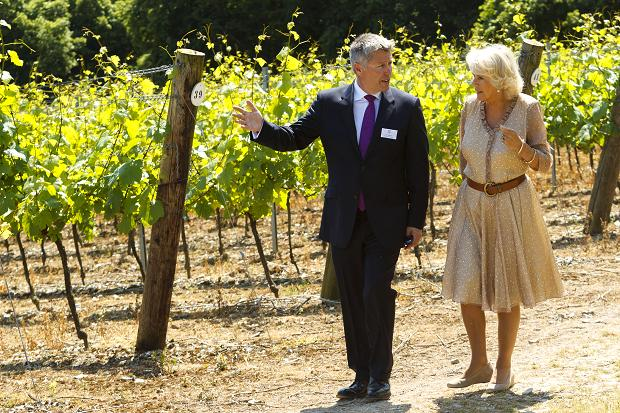 The Duchess of Cornwall takes a tour of the 72-hectare Hambledon Vineyard in Hampshire. Credit: Chris Ison/PA