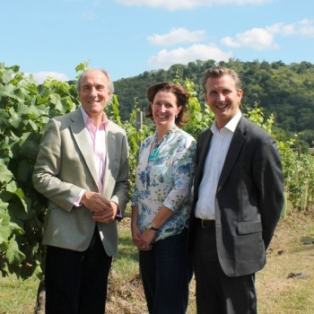 (left to right) David Cox of The Benevolent with Julia Trustram Eve of English Wine Producers and Ewan Lacey of the IWSC