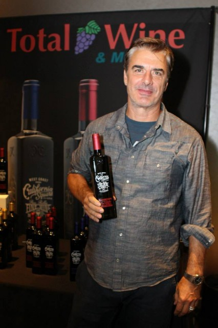 Actor Chris Noth models a bottle of California Square at the Emmy Awards