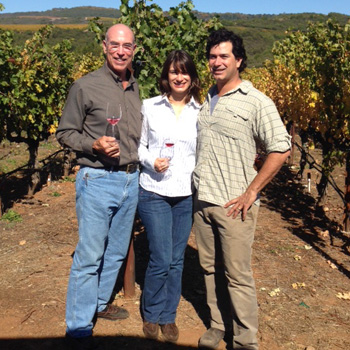 Michael Mondavi with daughter Dina and son rob jr in their Animo vineyard