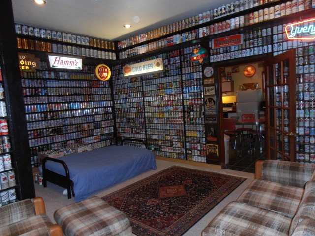 A room dedicated to the collection of US steel tab tops.