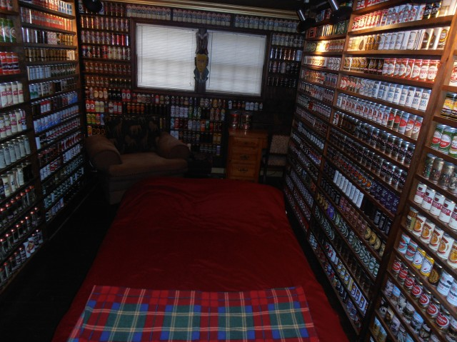 A room featuring cans from Scandinavia.