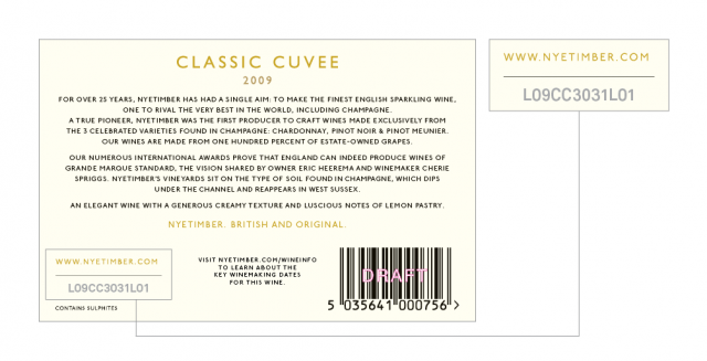 Nyetimber's new back label