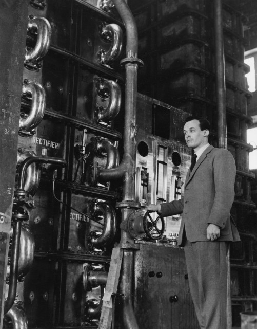 Charles Gordon at the new Girvan distillery in 1964