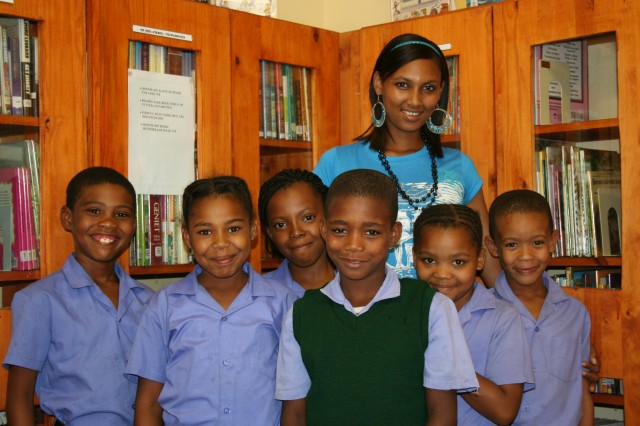 Children at Lorraine Primary School with Headmistress