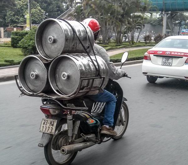 Beer Kegs on a Motorbike in Vietnam
