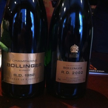 Bollinger's R.D. 2002 alongside the house's inaugural R.D. 1952 vintage