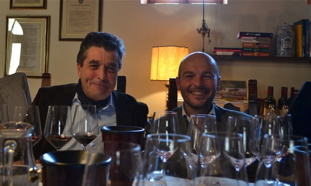 Denis Dubourdieu (left) and Castello d'Albola winemaker Alessandro Gallo