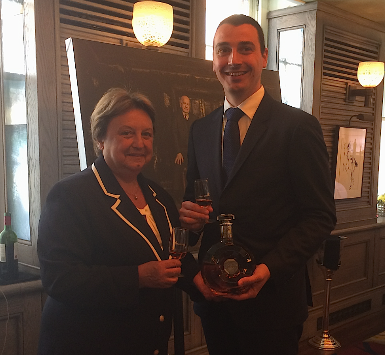 Outgoing cellar master Pierrette Trichet with her successor Baptiste Loiseau and one of the house's most recent additions, Centaur de Diamant
