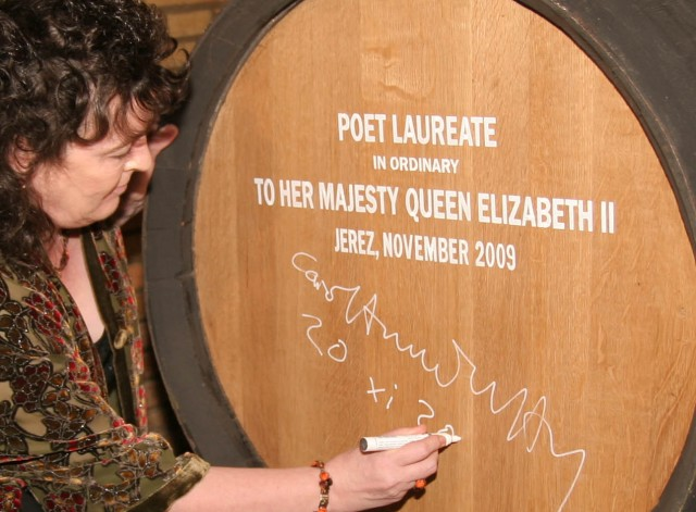 Making her mark: Poet Laureate Carol Ann Duffy signs her Sherry cask