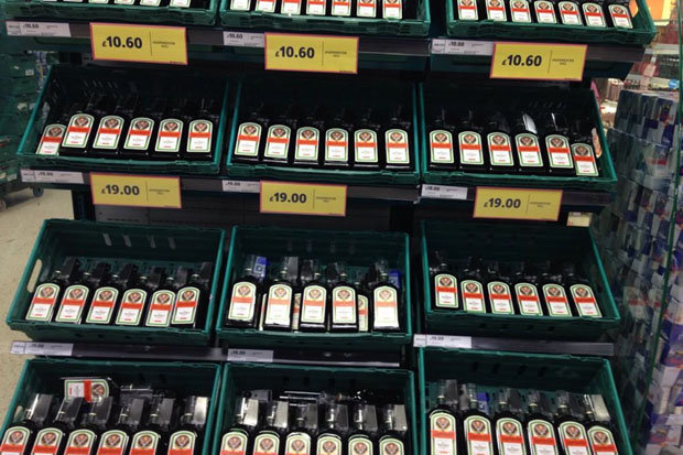 Shelves of Jaegermeister in place of salad, next to which sits its usual party-partner, Red Bull (Photo: Twitter)