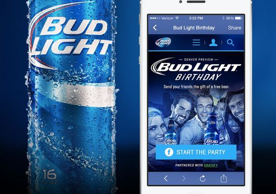 The Bud Light Facebook promotion allows users to collect a free beer for their birthday (Photo: Anheuser Busch)