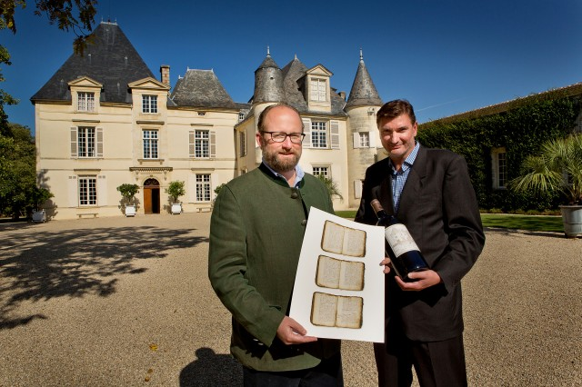 Prince Robert of Luxembourg and Laurent Chavier in front of Château Haut-Brion facade
