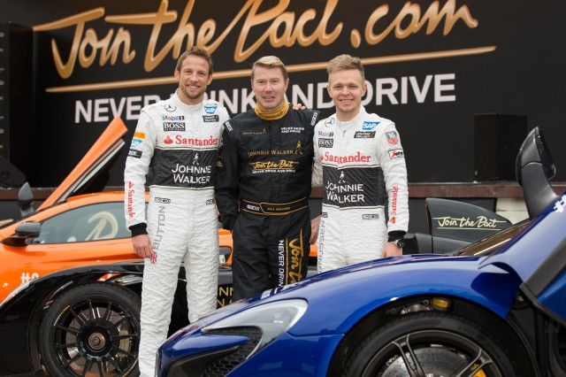 Former Formula 1 driver and Johnnie Walker global responsible drinking ambassador, Mika Häkkinen, Formula 1 drivers Jenson Button and Kevin Magnussen at the launch of the Johnnie Walker responsible drinking campaign in December (Photo: Diageo)