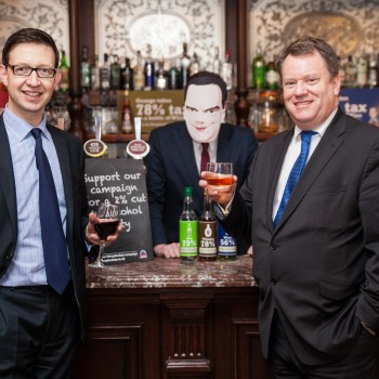Miles Beale, Chief Executive, Wine and Spirit Trade Association (left) and David Frost, Chief Executive, Scotch Whisky Association (right) launching this year's 'Drop the Duty!' campaign calling for a 2% cut in alcohol duty