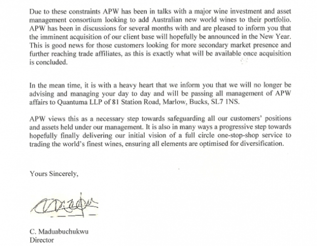 The end of the letter sent to clients in December 2014