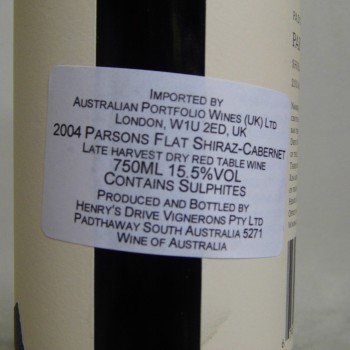 A bottle of wine from a APW listing the company as the UK importer