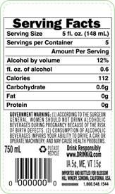 How Diageo's new labelling system will look in the US on a bottle of 750ml Blossom Hill Wine