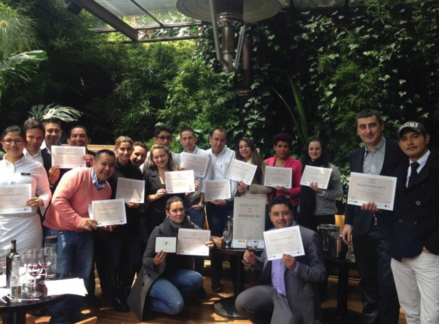 Graduates of the Spanish Fine Wines Institute session held in Columbia