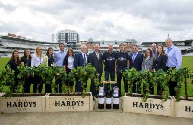 The Hardys team celebrates its sponsorship of English cricket