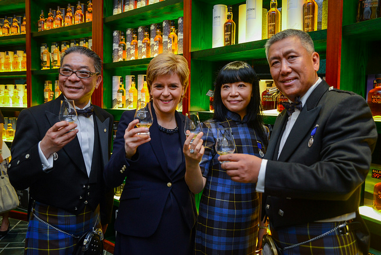 Scotland's First Minister Nicola Sturgeon at the launch of a new single malt centre in Beijing
