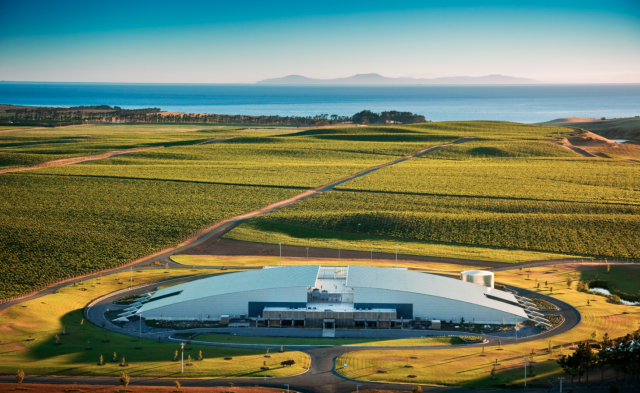 Yealands' principle winery in Marlborough. Yealands is one of New Zealand's largest producers, with 1,100 hectares of planted vineyards in Marlborough and Hawkes Bay (Photo: Jim Tannock)