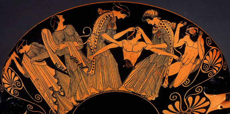 A Greek vase depicts the gruesome downfall of Pentheus