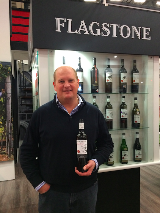 Bruce Jack shows off Flagstone's new Tributary Chenin Blanc at Cape Wine