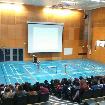 Helena Conibear of the Alcohol Education Trust addresses students (Photo: AET)