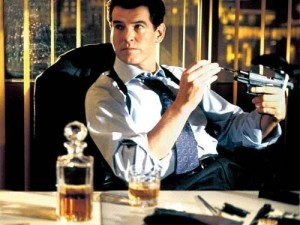 Pierce Brosnan enjoys a dram in The World is not Enough