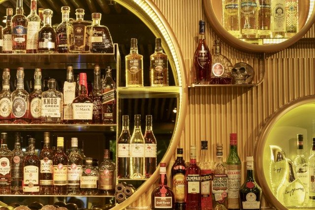 The well-stocked spirits bar at Maholo