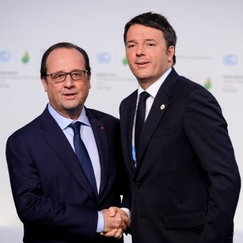 """Francois Hollande (left) with Matteo Renzi. Hollande said French wines were superior to Italy's offering as they were """"more expensive"""" (Photo: Wiki)"""