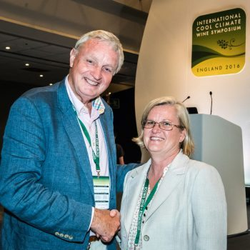 Bruce Tindale, ICCWS 2016 Chariman congratulates Debbie Inglis of Brock University, Canada after the announcement of the chosen country for the next International Cool Climate Wine Symposium which will be Canada. ICCWS 2016. photo ©Julia Claxton