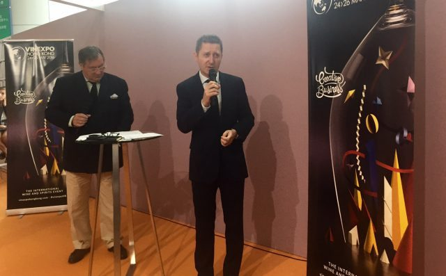 Vinexpo's CEO Guillaume Deglise addresses the media at the closing ceremony