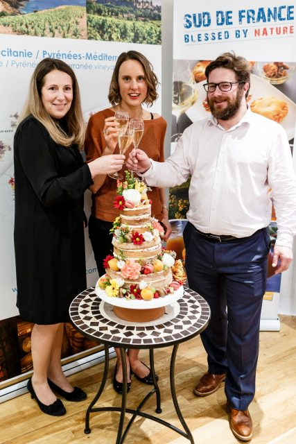 Isabelle Kanaan, Executive Director of Sud de France, Frances Quinn 2013 Winner of the Great British Bake Off with her amazing cake that she baked for Sud de France's 10th Anniversary and Sebastien du Boullay Promotions Manager of Sud de France