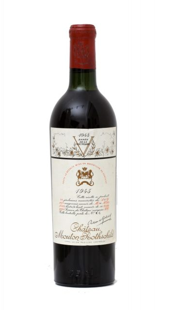 The legendary 1945 Mouton Rothschild with the commemorative Allied Victory label, designed by Philippe Jullian