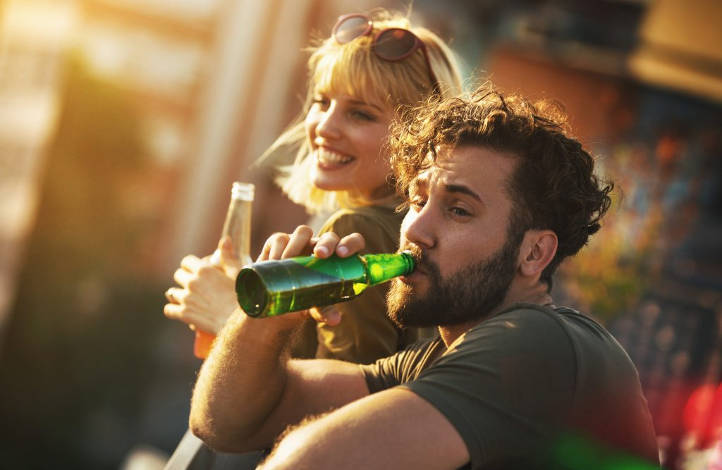 Calorie labelling on beer in pubs - people enjoy a drink in the sun