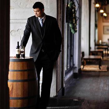 Yao Ming in his vineyard