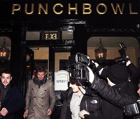 Footballer David Beckham leaving The Punch Bowl