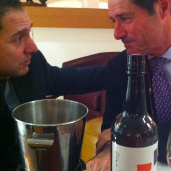 Fino sommelier Rafa Martin with Javier Hidalgo and the restaurant's own Sherry