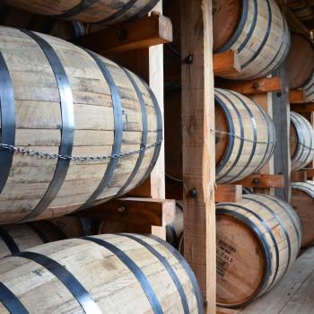 Stacking them high: Bourbon barrels at a Jim Beam distillery